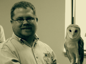 Keith Collins with Oberon the Barn Owl